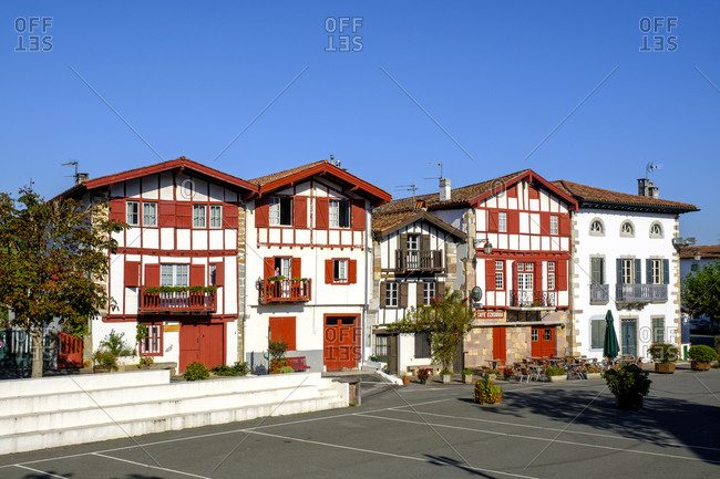 September 13, 2019: France- Pyrenees-Atlantiques- Ainhoa- Empty town square and half-timbered houses