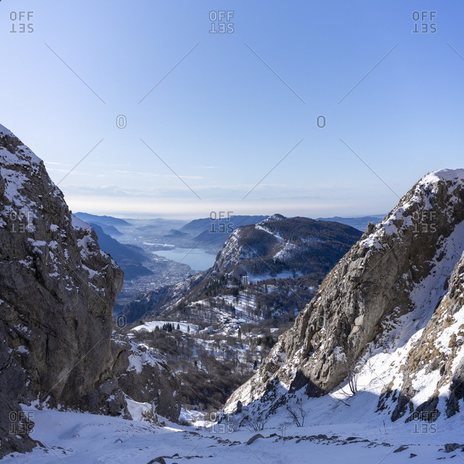 View of Orobie Alps from a mountain gully- Lecco- Italy