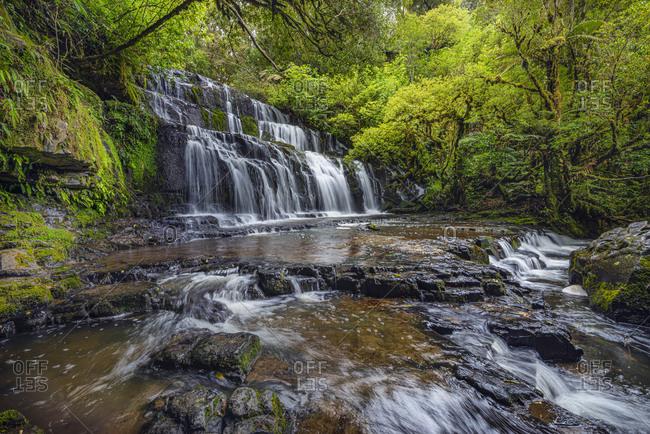 New Zealand- Otago- Long exposure of Purakaunui Falls
