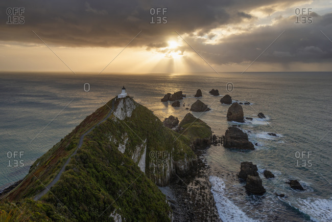 New Zealand- Otago- Long exposure of Nugget Point at moody sunrise