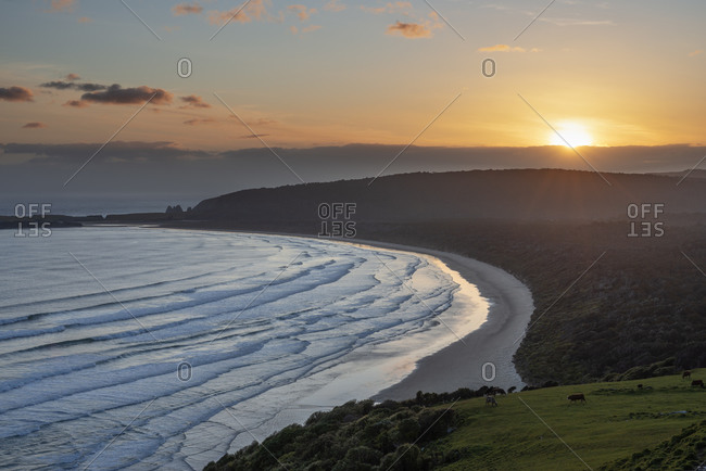 New Zealand- Otago- Tautuku Beach seen from Florence Hill Lookout at sunset