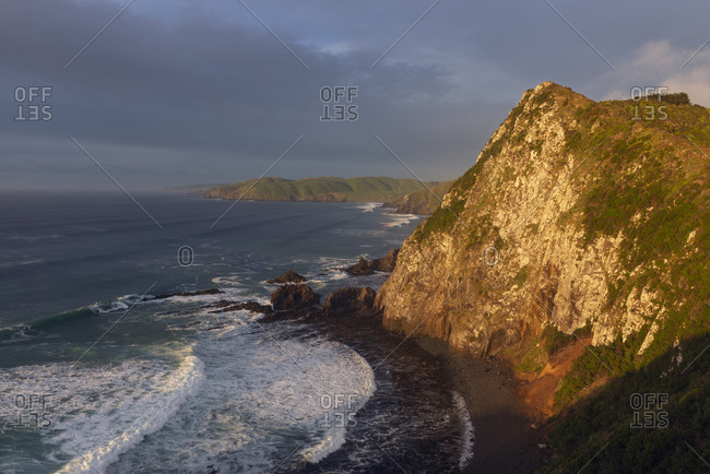 New Zealand- Otago- Scenic view of Nugget Point at cloudy dawn
