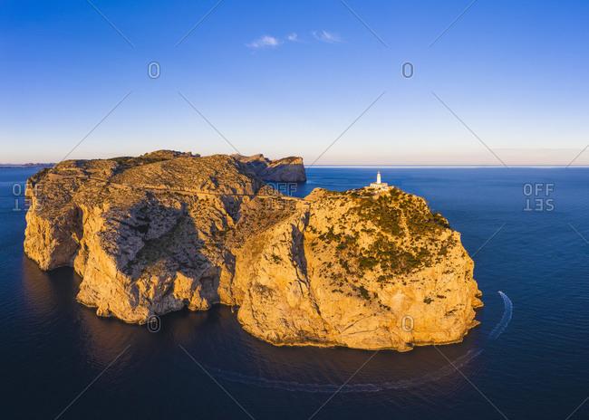Spain- Mallorca- Aerial view of Cap de Formentor peninsula at dawn