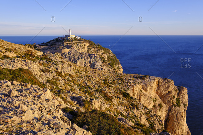 Spain- Mallorca- Aerial view of Formentor Lighthouse at dawn