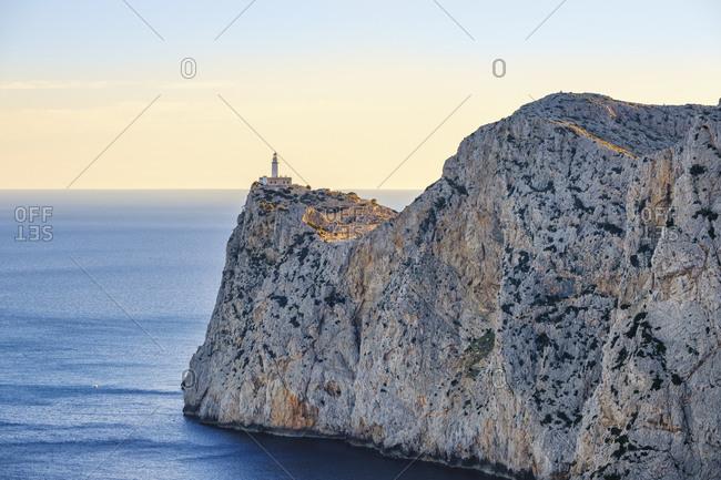Spain- Mallorca- Pollenca- Aerial view of Cap de Formentor and Formentor Lighthouse