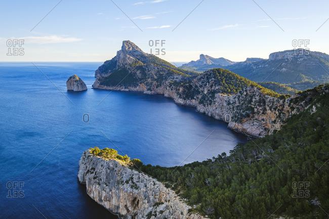 Spain- Mallorca- Pollenca- Aerial view of Cap de Formentor peninsula