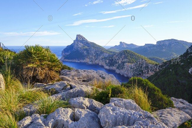 Spain- Mallorca- Pollenca- Scenic view of Cap de Formentor peninsula seen from Mirador Es Colomer