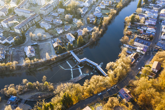 December 30, 2019: Germany- Bavaria- Wolfratshausen- Drone view Loisach river flowing through town in Alpine foothills