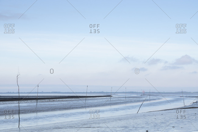 Germany- Schleswig-Holstein- Husum- Sky over Wadden Sea coast at low tide