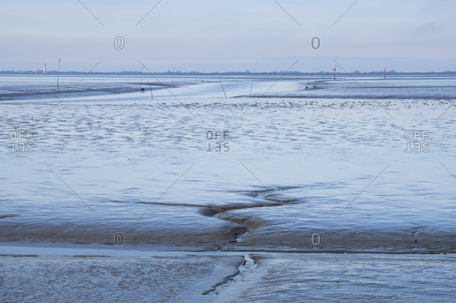 Germany- Schleswig-Holstein- Husum- Wadden Sea coast at low tide