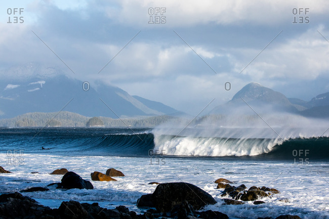 Large waves cresting in the ocean