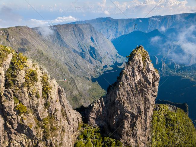 Aerial view of le Maido, extreme slackline, Cirque de Mafate, Reunion Island, Indian Ocean