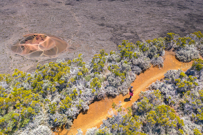 Aerial view of Formica Leo, active volcano Piton de la Fournaise, Reunion Island, Indian Ocean