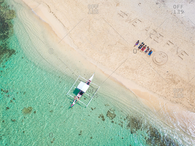 March 10, 2020: Aerial view of naked Island sand beach, Island hoping in the south of SIargao Island, Philippines