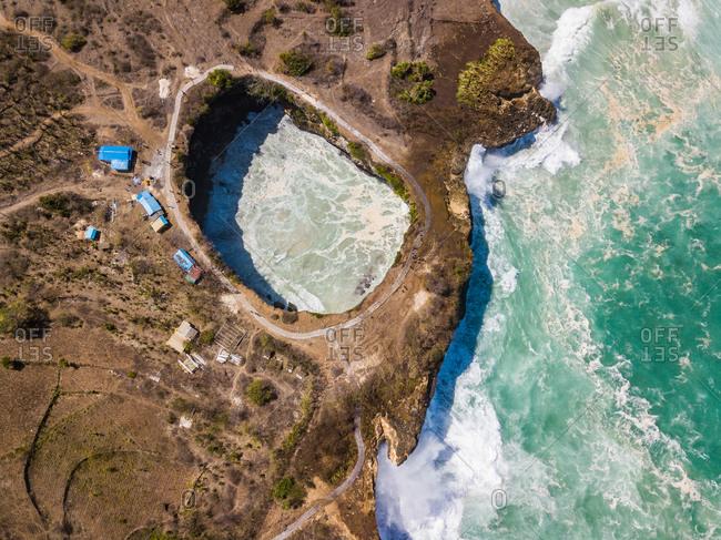 Aerial view of Broken Beach, Nusa Penida island, Bali, Indonesia