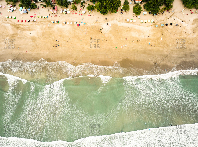 Aerial view of Kuta beach in Bali, Indonesia