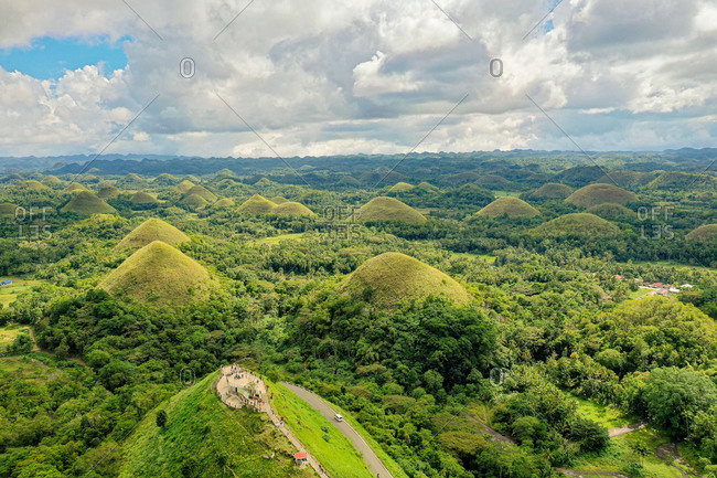 Aerial view of  chocolate Hills, Carmen, Bohol, Philippines