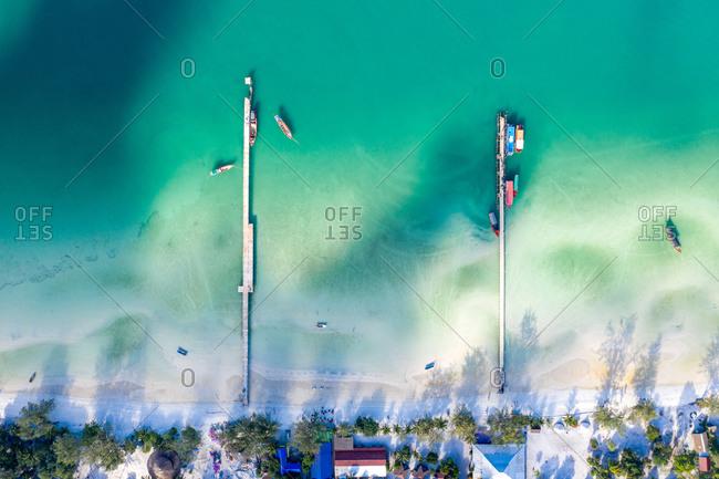 Aerial view of Boat Piers, Saracen Bay, Koh Rong Sanloem, Cambodia