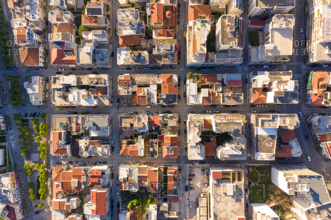 Aerial view of empty streets due to the coronavirus pandemic in Patras, Greece