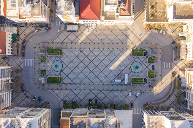 Aerial view of an empty square due to the coronavirus pandemic in Patras, Greece