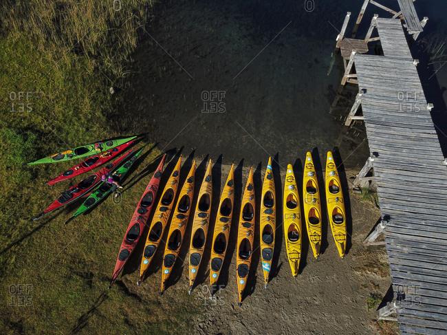 Aerial view of kayaks on lake Moreno, Bariloche, Patagonia, Argentina.