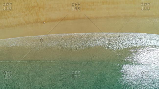 Aerial view of Five Rocks Beach, Byfield National Park, Byfield, Queensland, Australia
