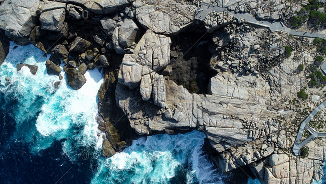 Aerial view of The Natural Bridge, Albany , Western Australia, Top down view