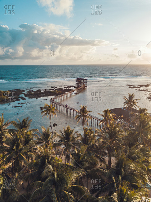 Aerial view of a pier at sunset in General Luna, Surigao del Norte, Philippines
