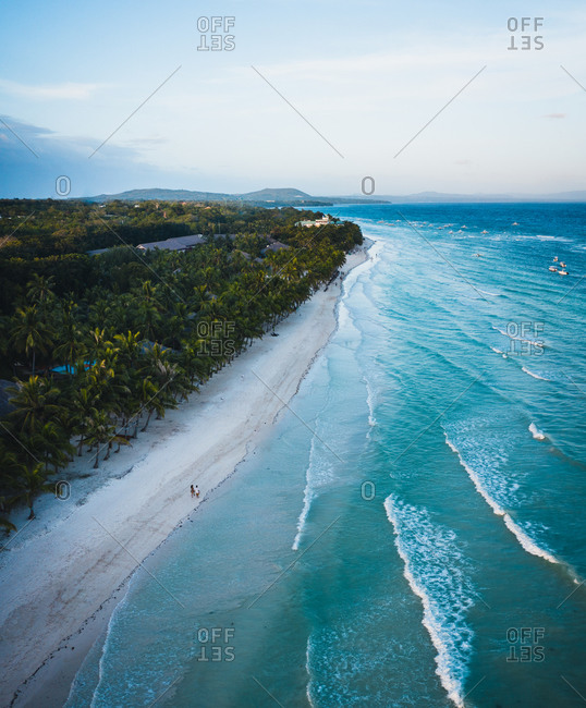 Aerial view of the beach shore in Bolod, Panglao, Bohol, Philippines