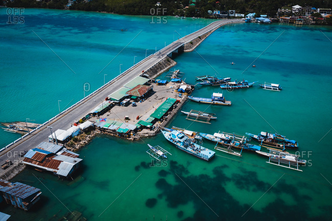 April 10, 2020: Aerial view of an empty bridge due to the coronavirus pandemic in Tagbilaran, Bohol, Philippines