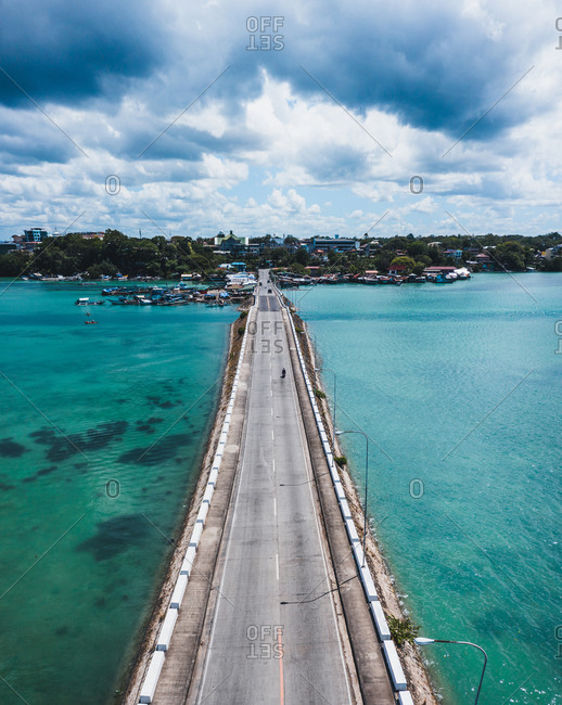 Aerial view of an empty bridge due to the coronavirus pandemic in Tagbilaran, Bohol, Philippines