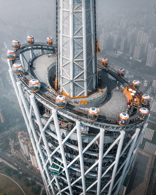 April 5, 2019: Aerial view of Canton tower, Guangzhou, China