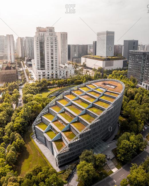April 29, 2019: Aerial view of International Finance Centre, Chengdu, China