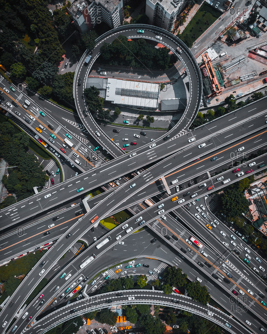 Aerial view of flyover in Guangzhou city, China.
