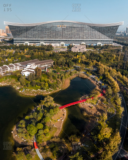 October 28, 2019: Aerial view of Global Center, Chengdu, China