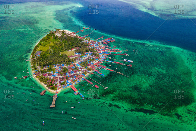 Aerial view of the tropical island Derawan, Borneo, Indonesia.