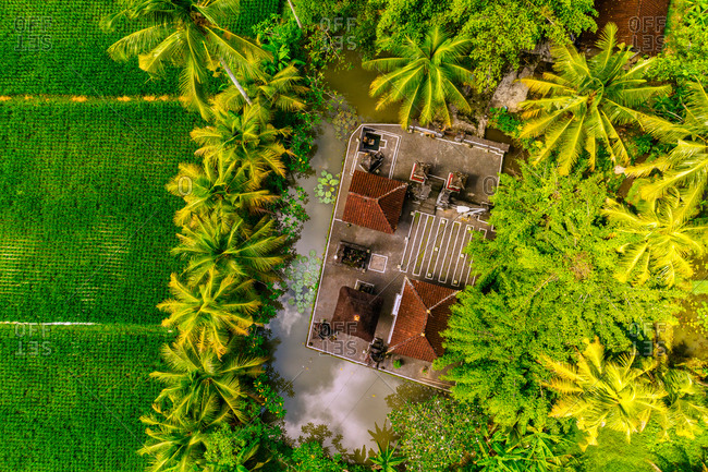 Aerial view of the traditional Hindu temple in the rice fields at Penarungan, Bali.