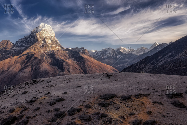 Aerial view of the Taboche (6,542 m) mountain in the spring season, near Ama Dablam base camp, Himalaya, Nepal.