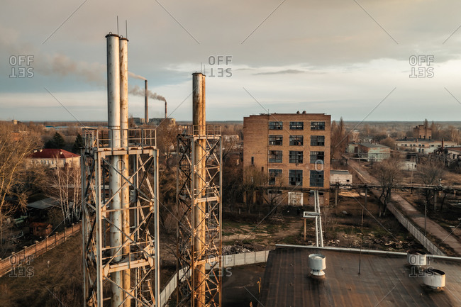Aerial view of the abandoned nylon-threads factory near Chernihiv, Ukraine.