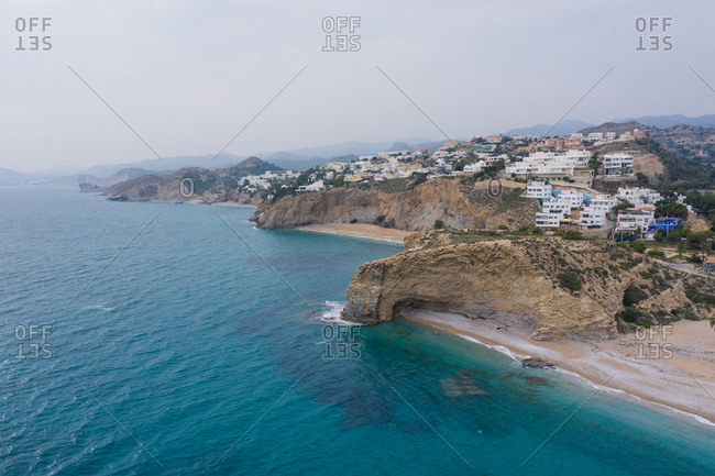 October 28, 2019: Aerial view of Punta del Bon Nou in Villajoyosa in Alicante, Spain