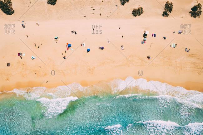 Aerial view of Alzada beach in summer near Atlantic ocean in Corralejo,  Fuerteventura island.