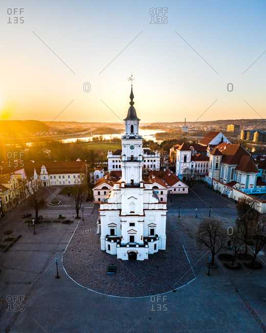 Aerial view of empty town hall square during quarantine in Kaunas city, Lithuania