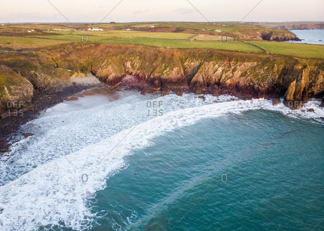 Aerial view of Caerfai Bay, St David's, Pembrokeshire, Wales