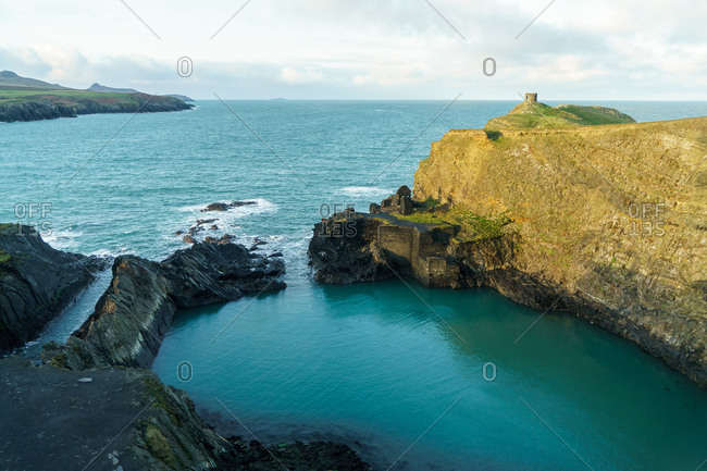 Aerial view of the Blue Lagoon near Abereiddy beach, near St David's, Pembrokeshire coastal path, Pembrokeshire, Wales, UK