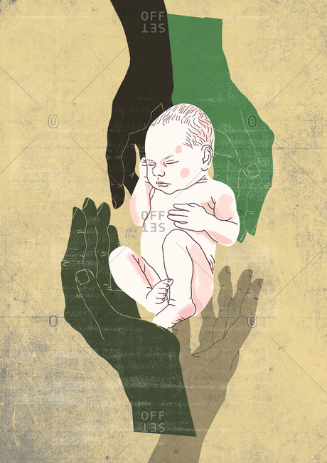 Four hands protect newborn sleeping baby, isolated on textured background, drawn with hand