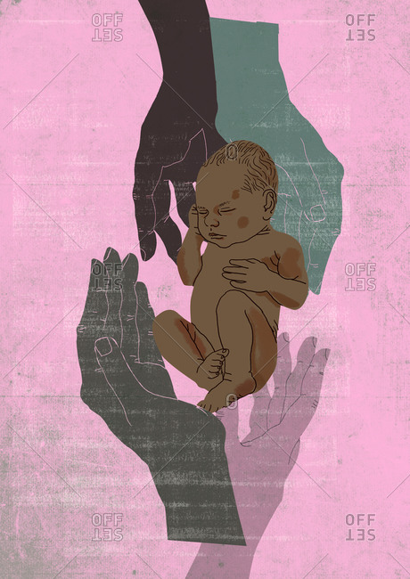 Four hands protect newborn sleeping black baby, isolated on textured background, drawn with hand