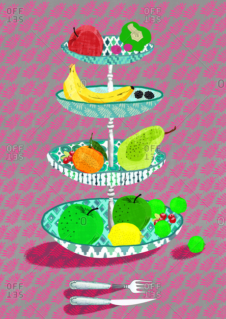 Still life of fruit bowl with fruit