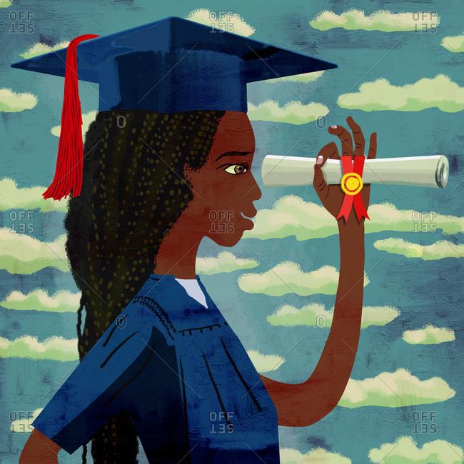 Young dark graduate woman looks to future through diploma
