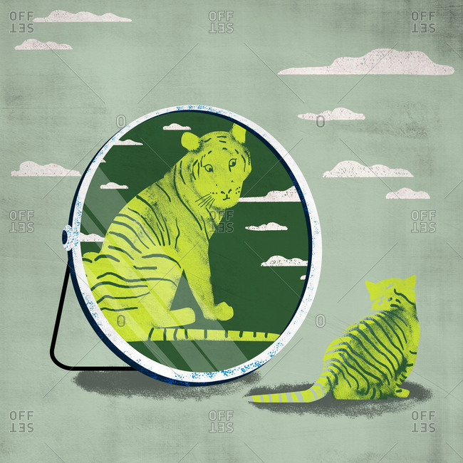 Little cat looks up against compares the mirror image of an adult tiger isolated on green sky background