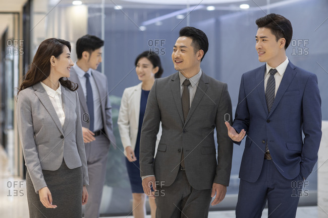 Successful Chinese business people talking in office
